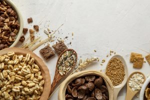 top-view-of-bowls-with-assortment-of-breakfast-cereals